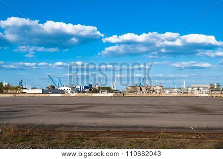 HAMBURG, GERMANY - May 1, 2013: Panorama view at the industrial port area.  Harbor freight terminal empty container place German sea harbor on the river Elbe the central hub for worldwide trade