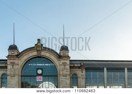 HAMBURG, GERMANY - May 1, 2013: Hamburg Dammtor railway station  Roof and window of entrance of trade fair and congress station in Jugendstil architecture located in Rotherbaum