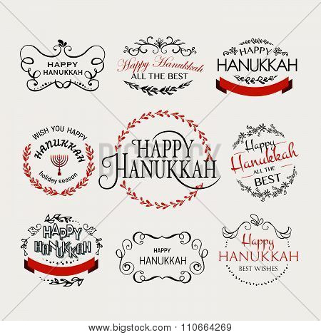 Happy Hanukkah Logotype, Badge And Icon Typography Set