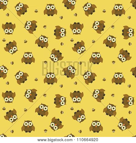 Seamless Cartoon Owl Pattern