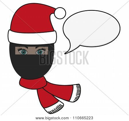 Olated Illustration Of Religious Fusion - Girl In Burqa In Christmas Apparel