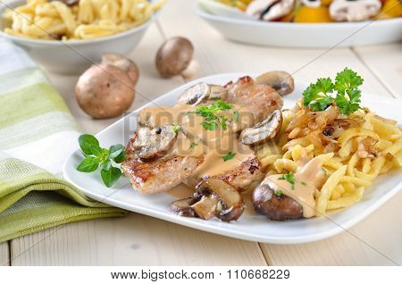 Escalope chasseur with spaetzle