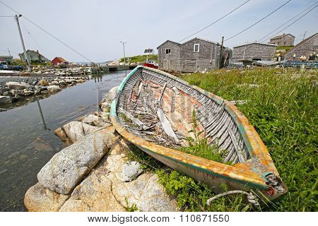 Peggy's Cove Scene With Broken Fishing Boat, Nova Scotia