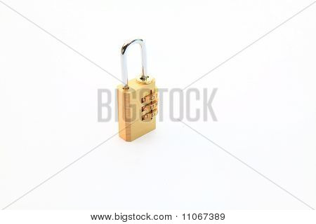 locked metallic numeric padlock isolated on white