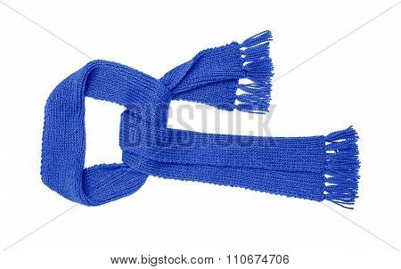 Blue knitted scarf isolate.