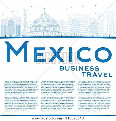 Outline Mexico skyline with blue landmarks and copy space. Vector illustration. Business travel and tourism concept with historic buildings. Image for presentation, banner, placard and web site.