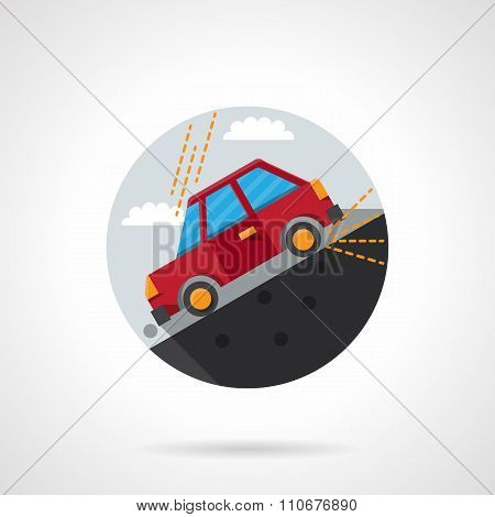 Car on a slope round flat color vector icon