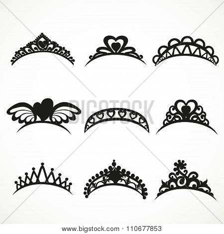 Set  Silhouettes Of Tiaras Of Various Shapes Isolated On A White