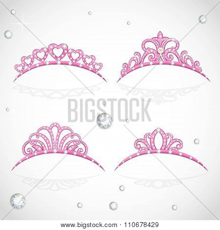 Elegant Shiny Pink Tiara With Precious Stones Isolated On White Background