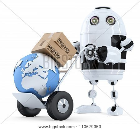 Robot Pushing A Hand Truck With Boxes. Isolated. Contains Clipping Path