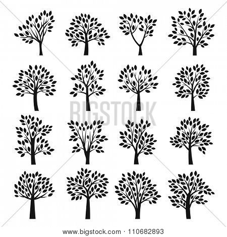 Stylized black and white vector tree icons. Vector tree flat silhouette isolated on white background. Tree different size and forms. Tree black icons set. Tree eco nature. Leaves, tree icons. Tree