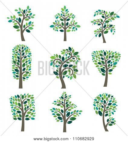 Stylized vector tree collection. Vector tree flat silhouette isolated on white background. Tree different size and forms. Tree icons set. Tree eco nature. Green collection of tree. Leaves, tree. Tree