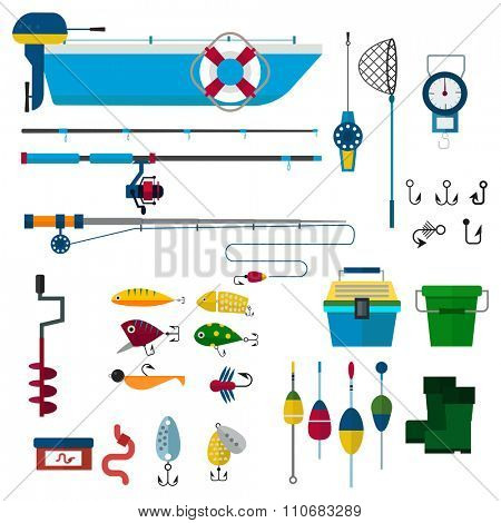 fishing vector icons illustration. Fishing rod, hooks, bait, boat and fish anchor. Fishing symbols. Fishing design elements. Fishing hobby icons, fishing vector silhouette. Winter fishing, summer