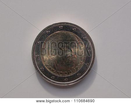 Two Euro Coin Bearing The Portrait Of Giovanni Boccaccio
