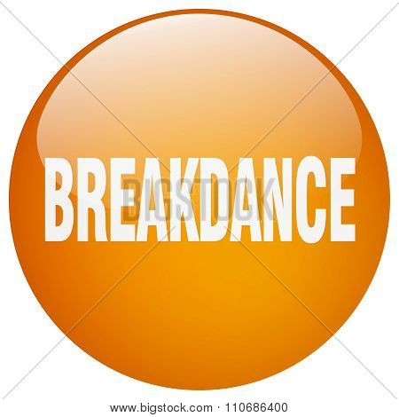 Breakdance Orange Round Gel Isolated Push Button