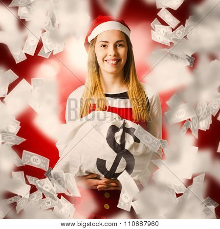 Santa Woman Celebrating A Money Bag Win