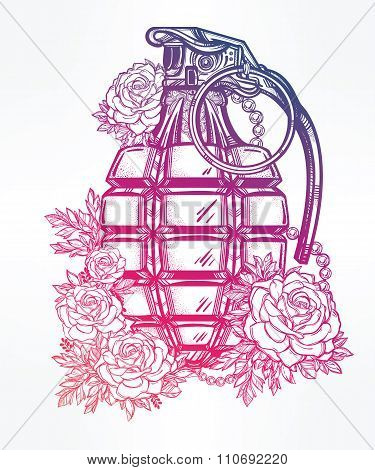 Hand drawn design of grenade with flowers.