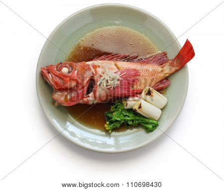 simmered kinki rockfish with sweetened soy sauce, japanese cuisine isolated on white background