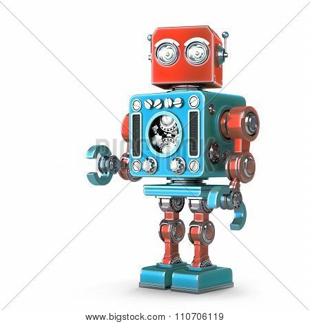 Standing Retro Robot. Isolated over white. Contains clipping path