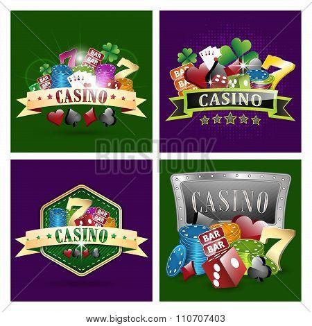 Set of casino vector illustrations.