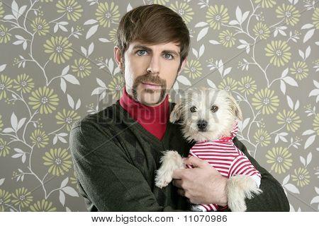 Geek Retro Man Holding Dog Silly On Wallpaper