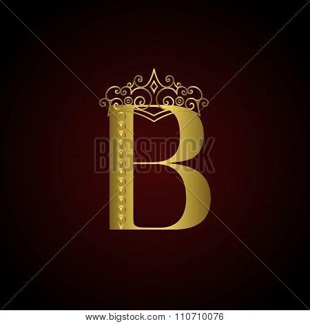 Gold Emblem Letter B With Crown. Monogram Design Elements. Elegant Line Art Logo Design. Business Si