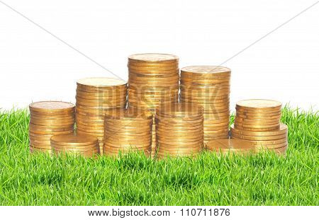 Golden Coins On Green Grass Isolated On White. Ukrainian Coins