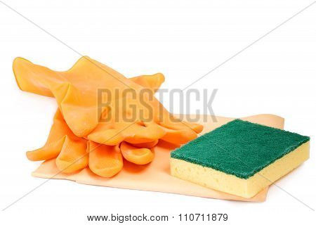 Rubber Gloves With Scrubbing Sponge