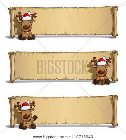 Christmas Elks Papyrus Sitting White Background