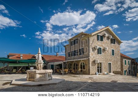 Herceg Novi old town square with drinkable water fountain