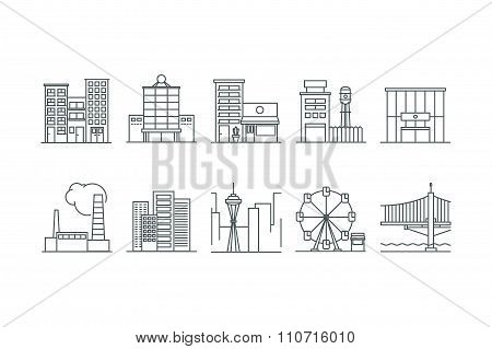 Building icons set. Line art. Stock vector.