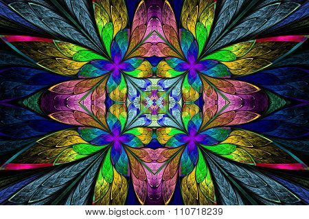 Symmetrical Multicolored Flower Pattern In Stained-glass Window Style On Darkblue.  Computer Generat