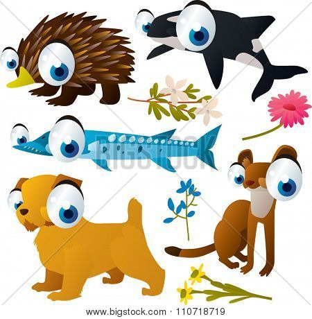collection of cute cartoon animals: echidna, dog, stoat, barracuda, orca