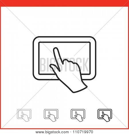 Tablet pc icon. Vector icon of tablet pc and hand gesture in four different thickness. Linear style