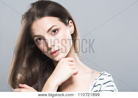 Beautiful Young Woman Portrait Cute Tender Pure Smiling  Touching Her Chin By Fingers