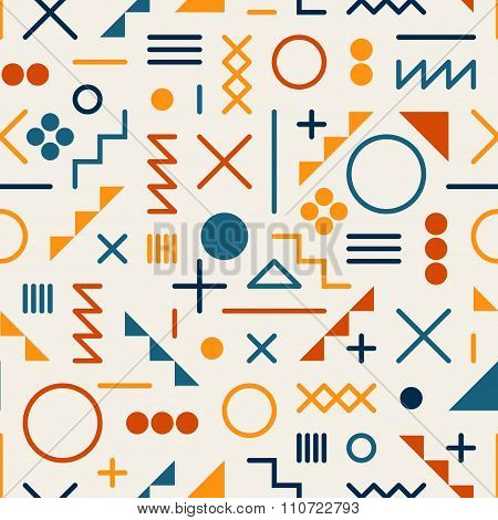 Vector Seamless Retro Jumble Geometric Line Shapes Tela Orange Color Pattern On White