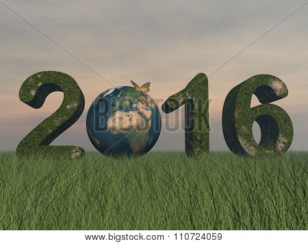 Happy new year 2016 - 3D render