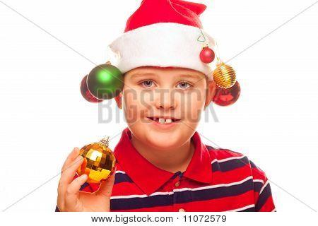 Christmas Boy With Santa Hat