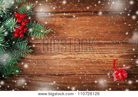 Jingle Hand Bell On Wooden Snow Background