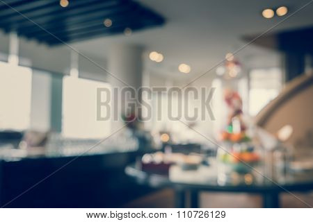 Blurred Defocussed Abstract Background Of Refreshment Setup In A Hotel Executive Lounge