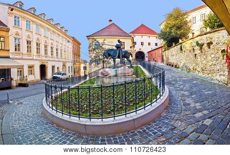 Historic Zagreb Street And Stone Gate