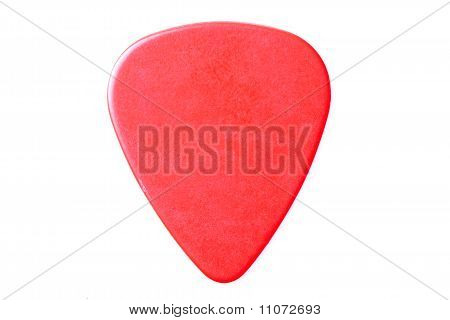 Red Guitar Pick Up Close Isolated On White #1