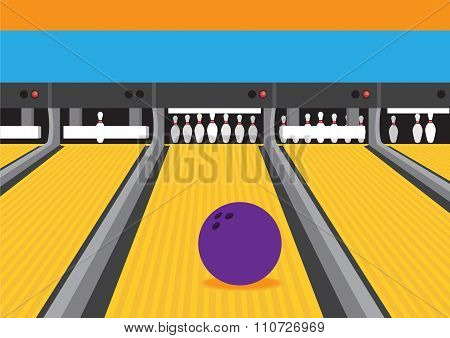 Bowling Ball On Lane Vector Illustration