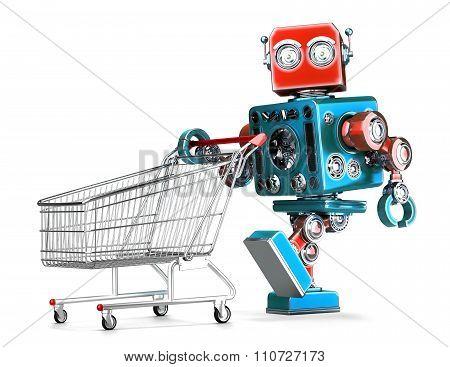 Retro Robot With Shopping Cart. Isolated. Contains Clipping Path