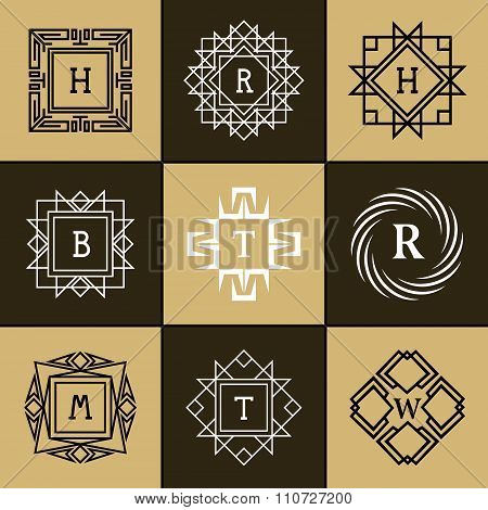Geometric Monogram Logo. Abstract Vector Template In Trendy Mono Line Style. Letter Emblem H, R, B,