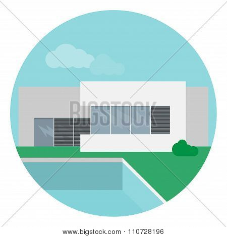 Modern House In Flat Design