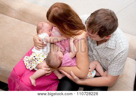 Breast-feeding Twin Babies At Home