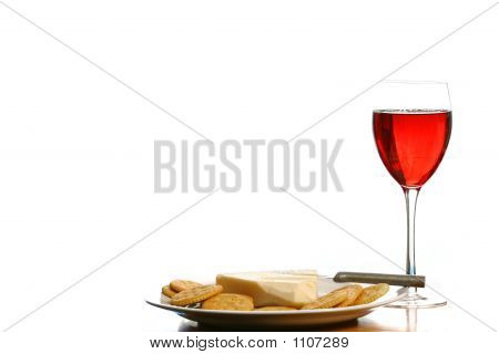 Wine And Cheese And Crackers Isolated On White