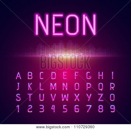 Neon Alphabet Font Style Flat Design