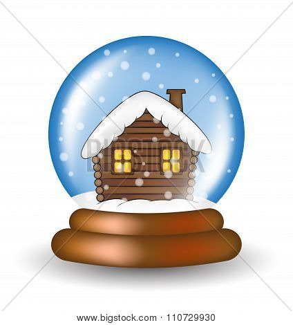 Christmas Snowglobe With Cabin Cartoon Design, Icon, Symbol For Card. Winter Transparent Glass Ball